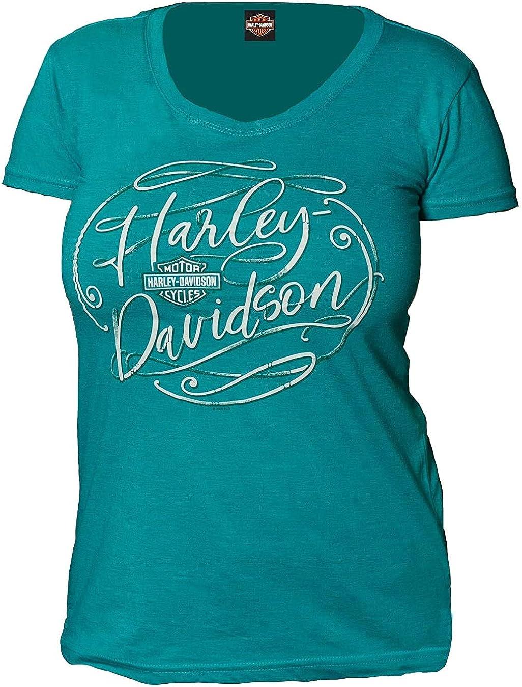 Womens Jade Round Neck Graphic T-Shirt Yokosuka Harley-Davidson Military Flowing Script