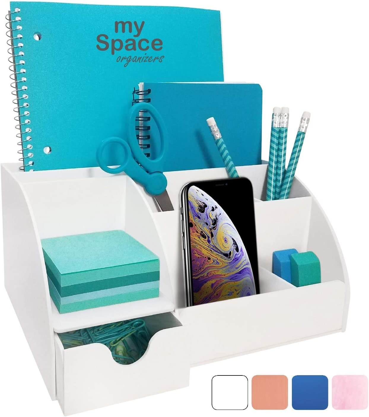 Office Desk Organizer, White Acrylic, with