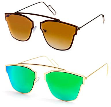 557727809028 TheWhoop Combo UV Protected Latest Stylish Goggles Brown And Green Aviator  Sunglasses For Men, Women, Girls, Boys: Amazon.in: Clothing & Accessories