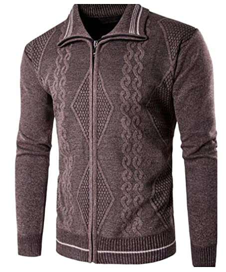 M&S&W Men's Knit Lapel Ribbed Cable Knit Cardigan Sweater at ...
