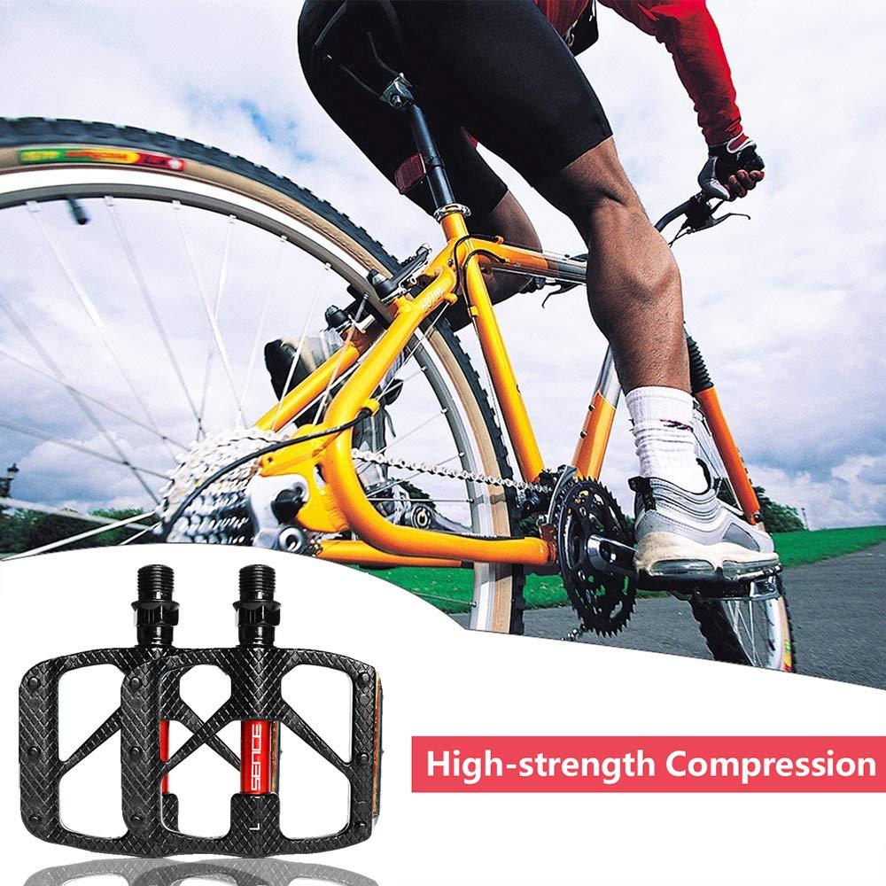 CRAZYMAN Pedal de Bicicleta de Plataforma de Aluminio para Pedales universales de 1//2 x 9//16 Pulgadas Ligero y Antideslizante