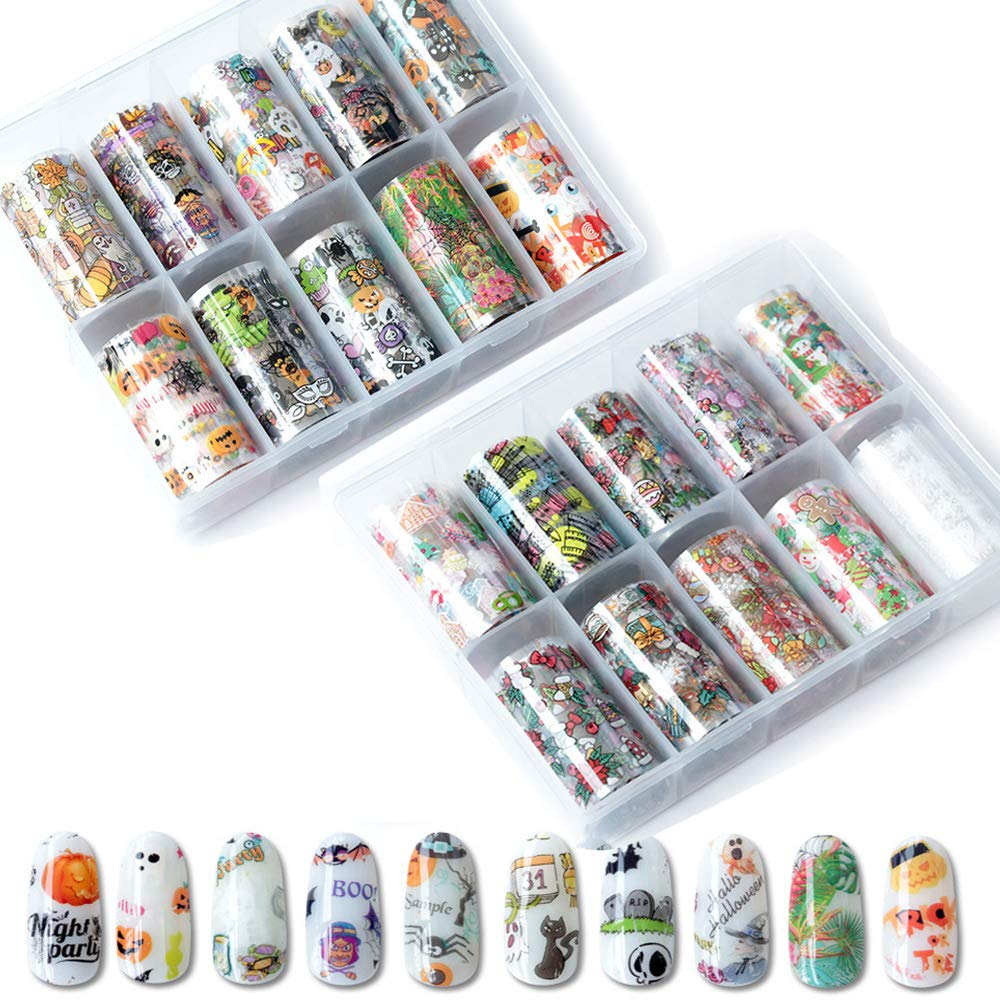 20 Roll Nail Art Stickers Nail Foil Transfer Wraps Decals, Nail Art DIY Decoration Kit for Halloween Christmas Festival (Pumpkin, Bat, Spider,Snowman,Snowflake,Biscuit Man, Gift) by Sugebeauty