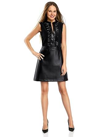 6392cdc20e0 oodji Ultra Femme Robe Combinée avec Jupe en Similicuir  Amazon.fr ...