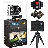 EKEN H9R 4K Action Camera, Caméra de sport étanche Full HD Wifi avec Vidéo 4K/2.7K/1080P60/720P120fps, 12MP Photo et 170 objectif Grand angle, comprend 17 kit de montage, 2 piles (Noir)