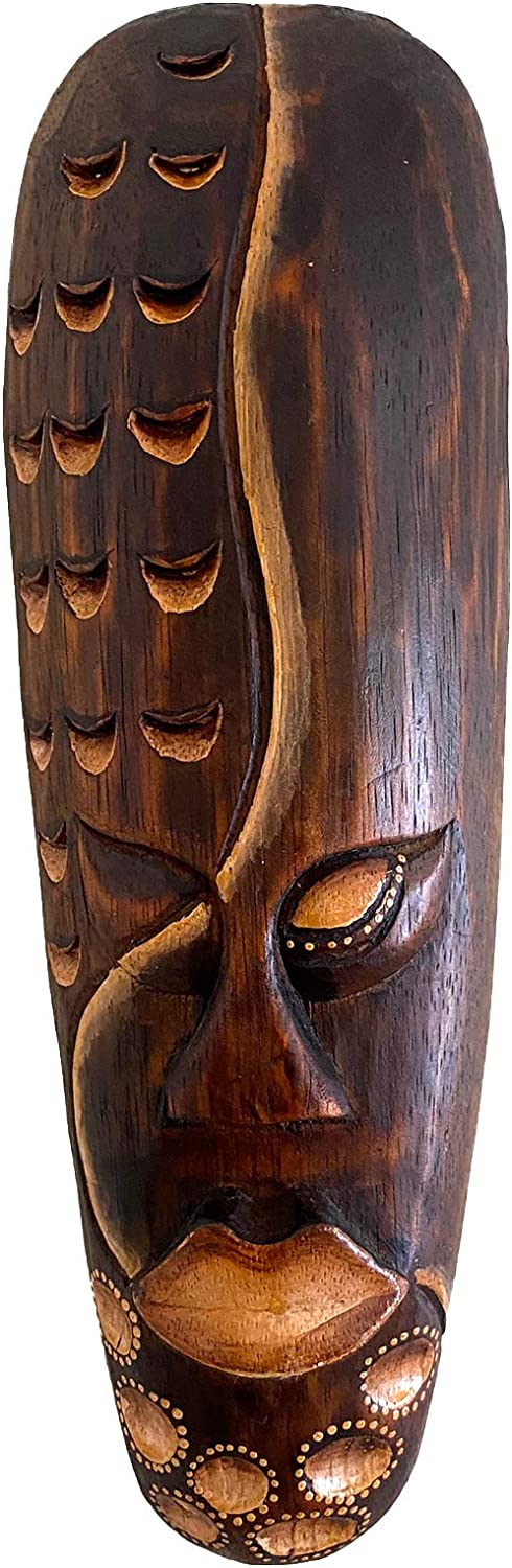African Mask Wall Hanging Decor For Love & Fortune Wooden Hand Crafted Tiki Mask Home Decor Gift - (12