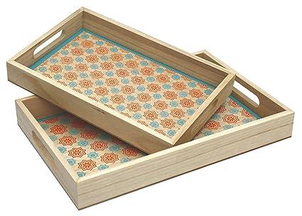 Set de 2 Natural madera bandejas apilables con diseño de estilo marroquí azul y naranja