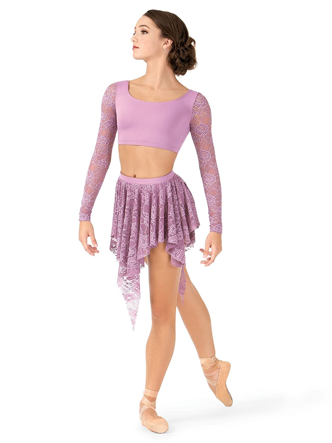 Body Wrappers Adult Uneven Hem Drapey Lace Dance Skirt, LC9109