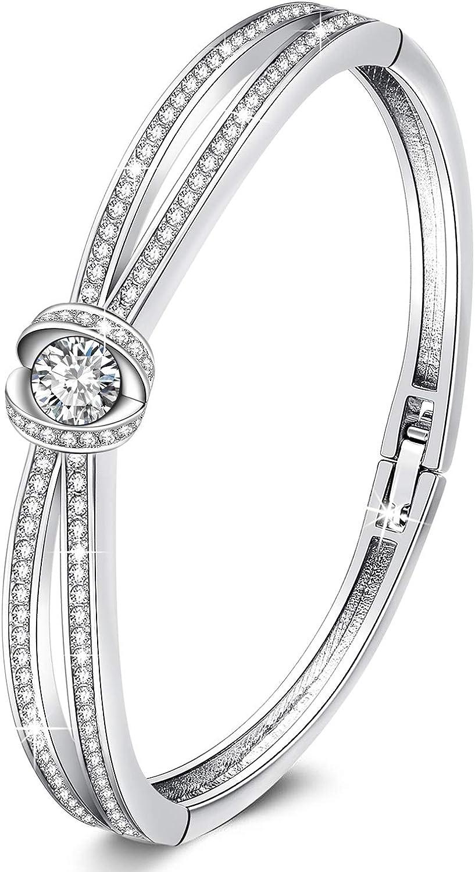 GEORGE · SMITH Cinderella Pulseras Plata Clásicas para Mujer con Cristales Swarovski, Pulsera Oro Rosa Pulsera Bodas Regalos Ideales para Mujer