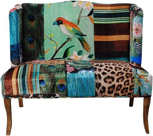 Benjara, Multicolor Benzara Vesta Bird Collage Print Settee