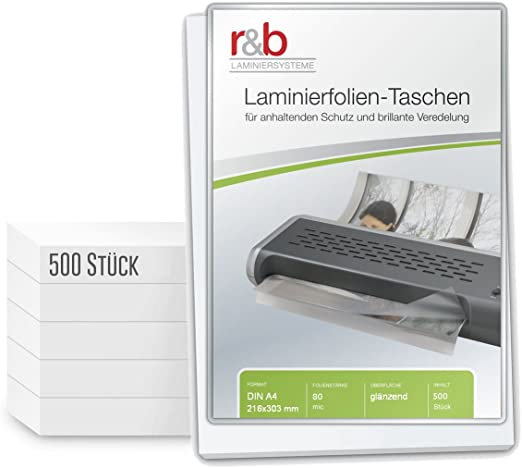 216 x 303 mm Hochglanz NEU+OVP Laminierfolie DIN A4 80mic micron 100 Stück Maße