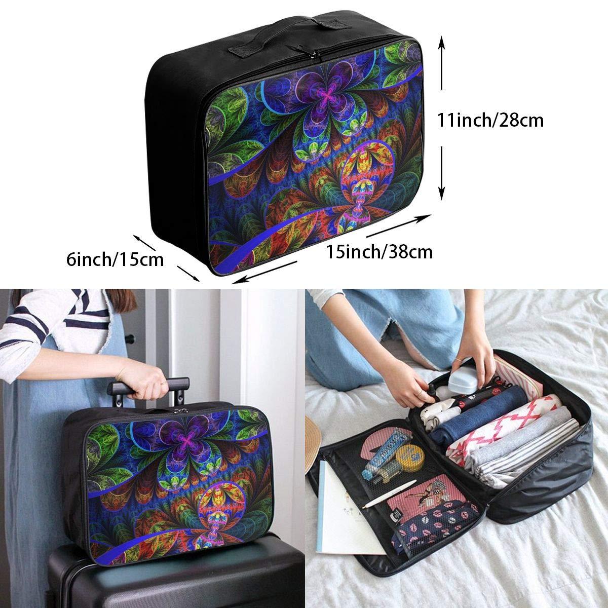 Travel Luggage Duffle Bag Lightweight Portable Handbag Colorful Kaleidoscope Print Large Capacity Waterproof Foldable Storage Tote