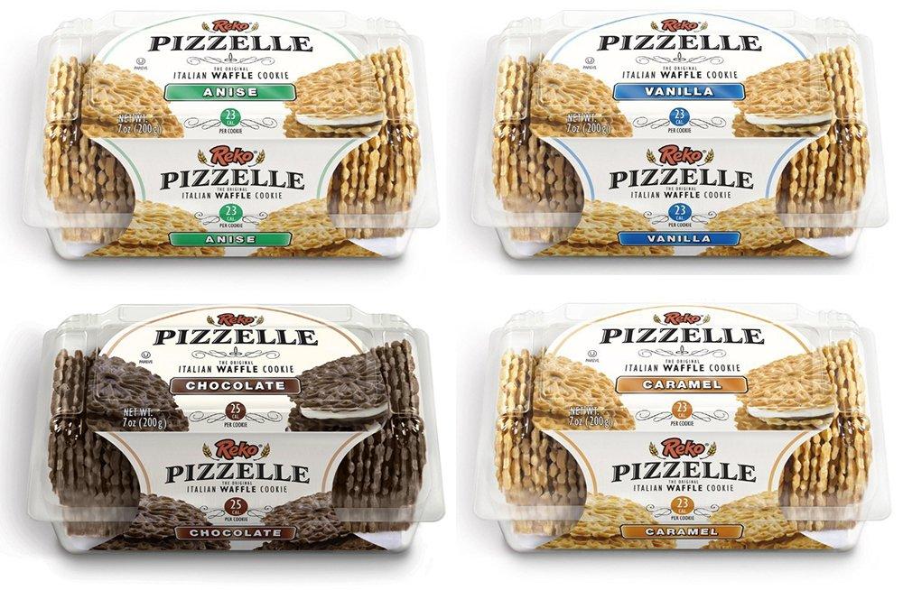 Reko Pizzelle Cookies 4 Flavor Samplers - Anise, Chocolate, Caramel, Vanilla (4 Pack) by Reko