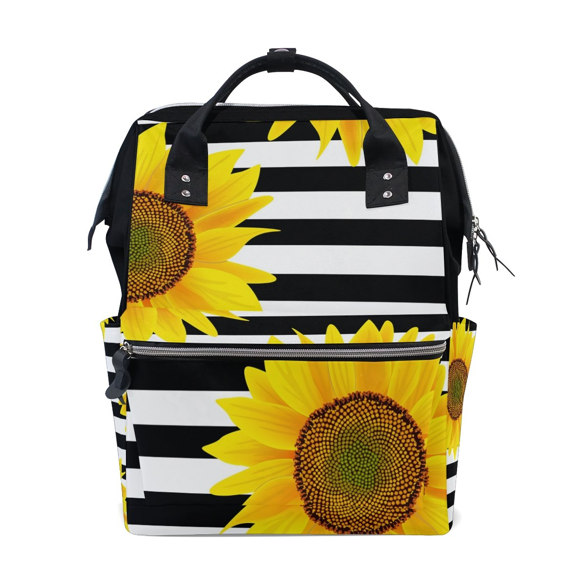 ALAZA Sunflowers On Zigzag Stripes Diaper Bags Mummy Backpack Multi Functions Large Capacity Nappy Bag Nursing Bag for Baby Care for Traveling