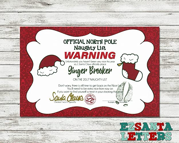Amazon.com: EZ Santa Letters   Warning Naughty List Certificate
