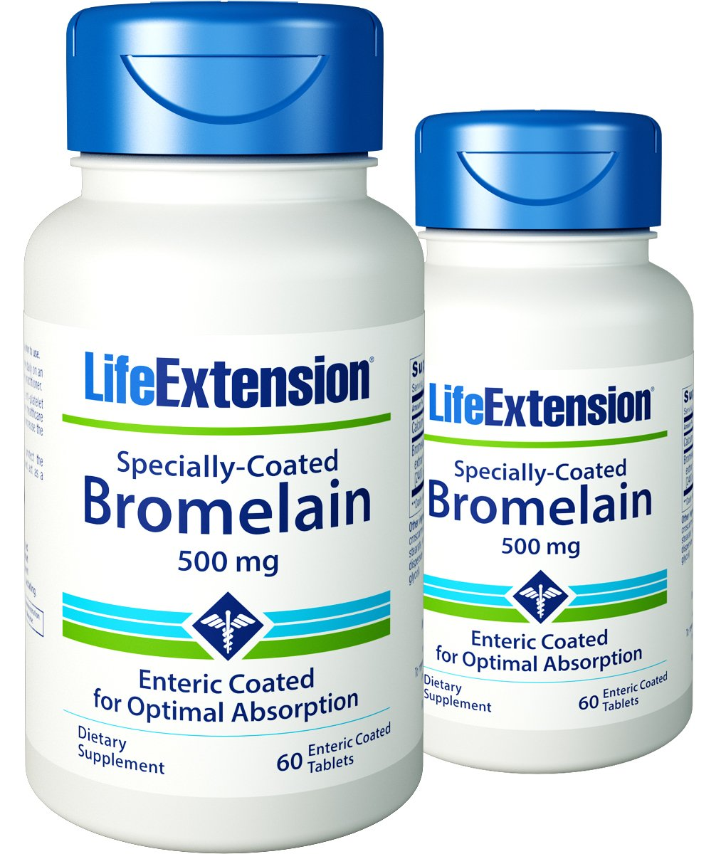 Life Extension - Specially-Coated Bromelain - 500 Mg - 60 Gels (Pack of 2)