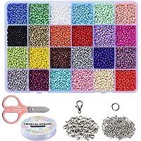 Braleto 24 Kleuren Glas Losse Rocailles Kralen,voor Sieraden Maken voor Kinderen, DIY Armband Decoratie Arts and Crafts…