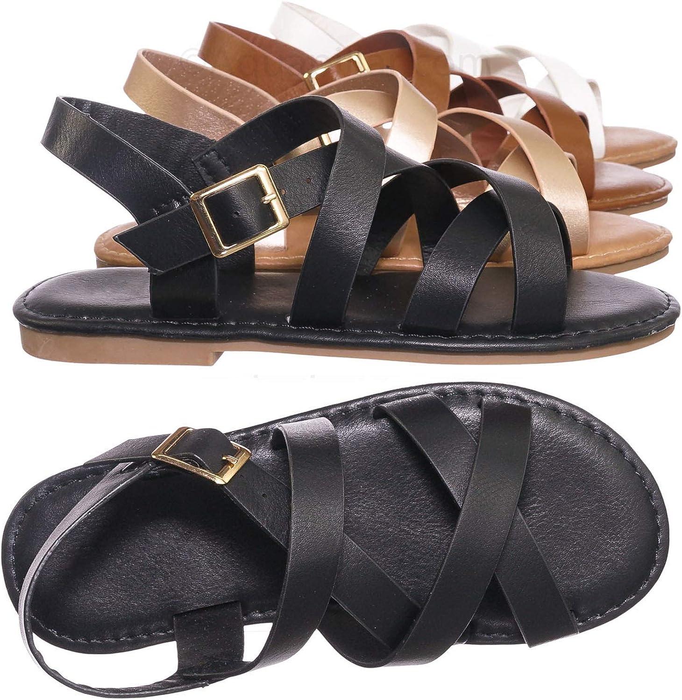Children Gladiator Cross Strap Sandal Girl Kids Flat Shoes