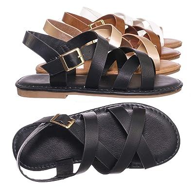 f63f77448c1 Amazon.com | Children Gladiator Cross Strap Sandal - Girl Kids Flat ...