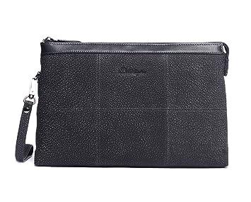 Bolsos de Mano Hombre Piel de Nubuck Negro Carteras Mano de Cuero Autentica Grande Clutch con Cremallera para Caballero Teléfono Móvil iPad Tablet ...