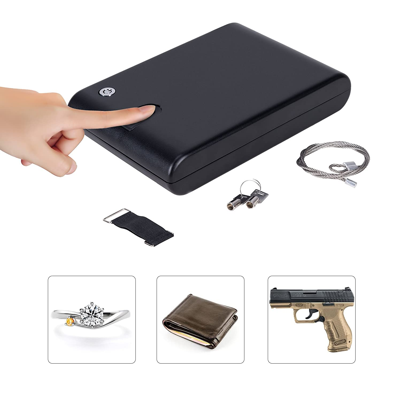 co-zポータブルハンドガン安全、ロックロックボックスジュエリーボックス、Pistol安全、キーロック&指紋センサー付き貴重品、現金、Pistols & Handguns B07CHJDNNC