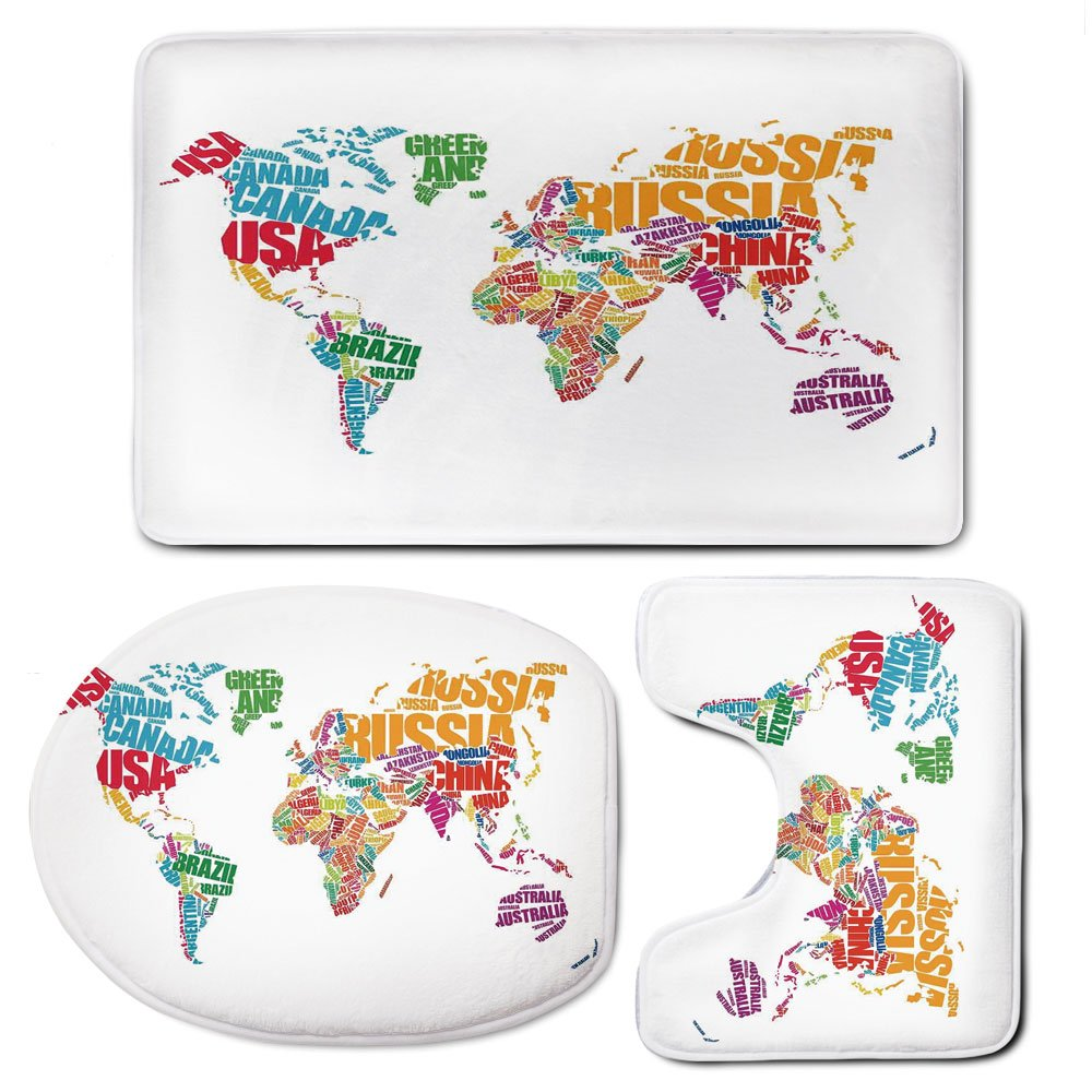 3 Piece Bath Mat Rug Set,Wanderlust-Decor,Bathroom Non-Slip Floor Mat,World-Map-Made-by-Names-Continents-Europe-America-Africa-Asia-Graphic-Art-Decorative,Pedestal Rug + Lid Toilet Cover + Bath Mat,Mu