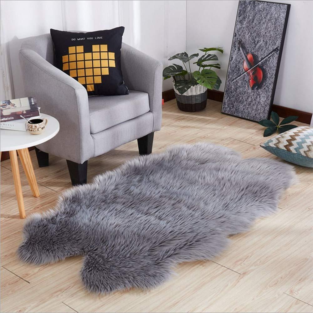 DUANG Faux Fleece Schaffell Teppich Teppiche Weich Und Seidig Haar 5-6cm Rutschfeste Matten Für Stuhl Bett Sofa Boden Zottelig Waschbar,Grau-180×200cm 71×79