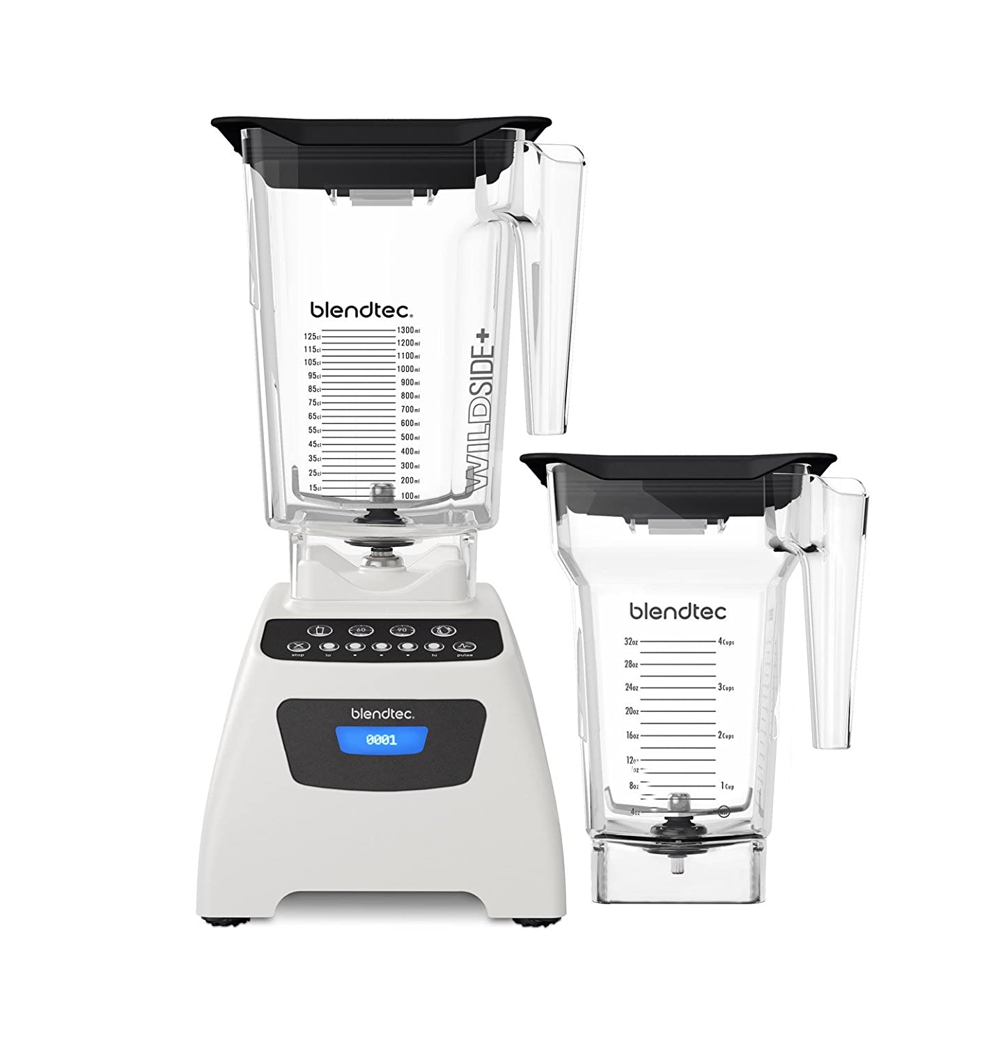 Blendtec Classic 575 Blender - WildSide+ Jar (90 oz) and FourSide Jar (75 oz) BUNDLE - Professional-Grade Power - Self-Cleaning - 4 Pre-programmed Cycles - 5-Speeds - Polar White