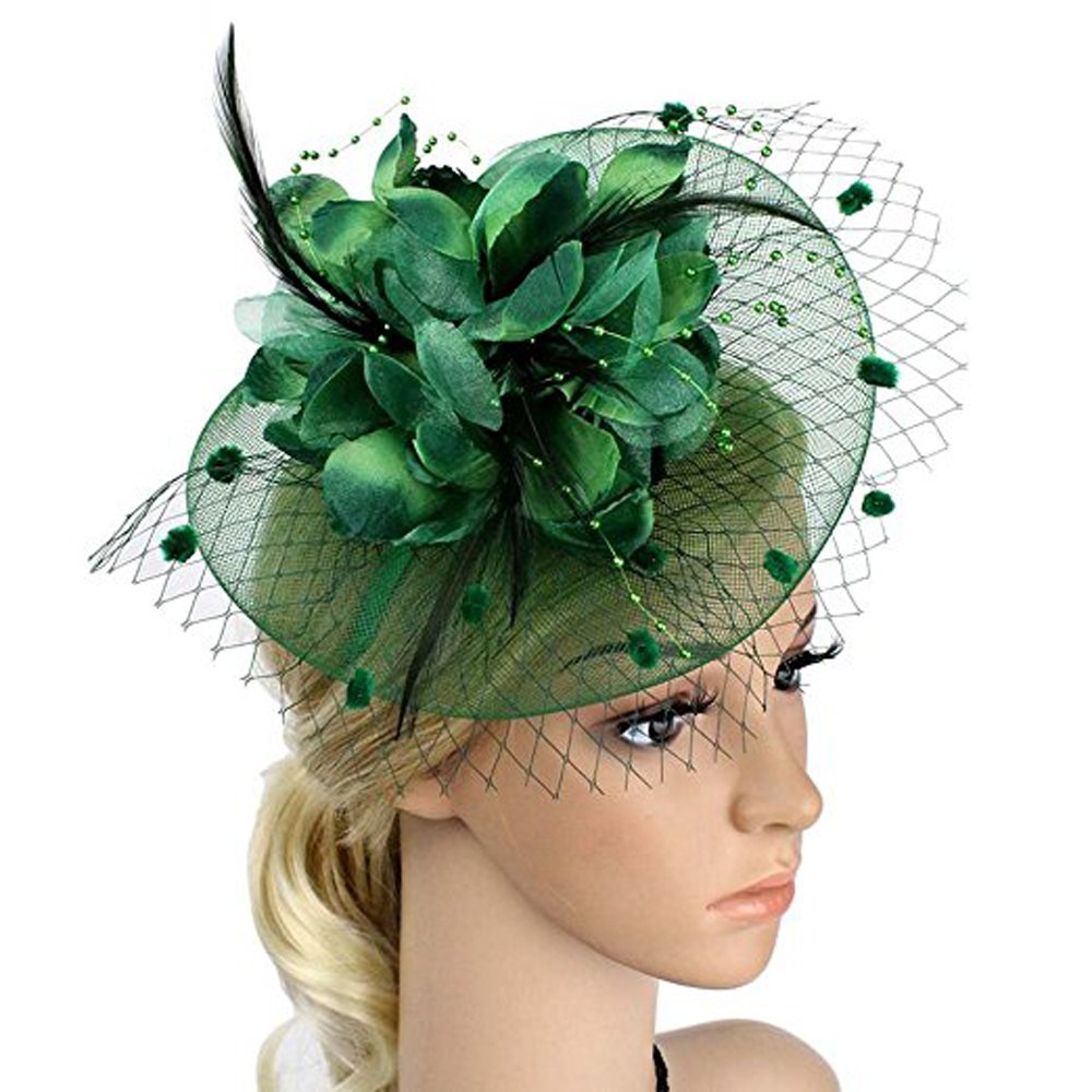 Big Flower Headband Netting Mesh Hair Band Cocktail Hat Party Fascinator, Deep Green, One Size
