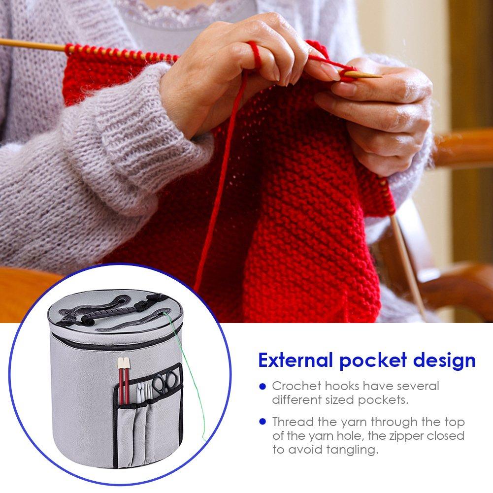 wonderfulwu Knitting Bag, Portable Travel Canvas Crochet Yarn Storage Bag Organizer Compartments for Crocheting Knitting