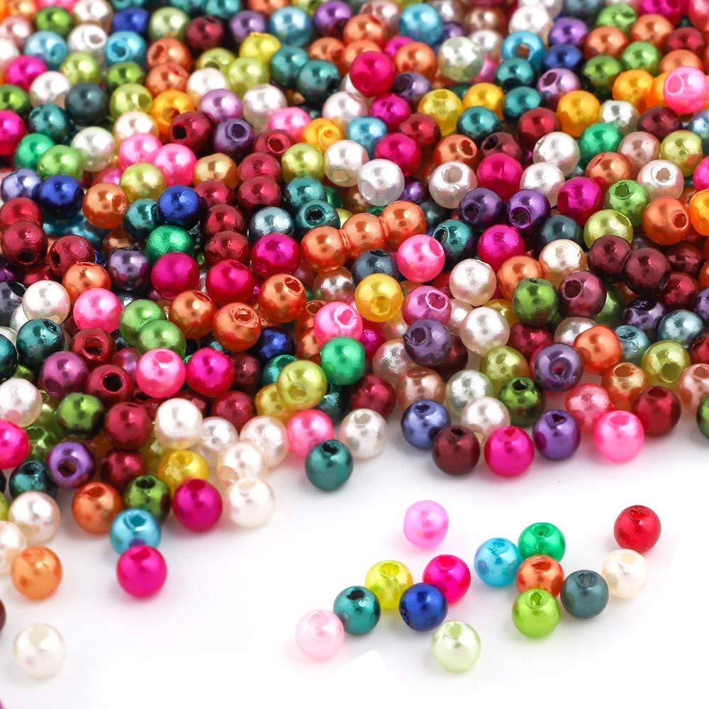 Outuxed 1500 St/ück 4mm Bunte k/ünstliche Perlen geeignet f/ür Schmuckherstellung und Heimwerken Halskette Armband von den Kindern
