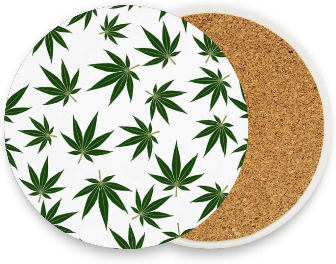 Juego de 1 posavasos de cerámica con diseño de hojas de marihuana y cannabis verde, redondo, absorbente, para bebidas, café, para casa, oficina, bar, cocina, cerámica, multicolor, 4 unidades