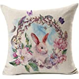 Watercolor Spring Happy Easter Wreath Rabbit Throw Pillow Cover Cushion Case 18 x 18 Inch Cotton Linen Home Decor