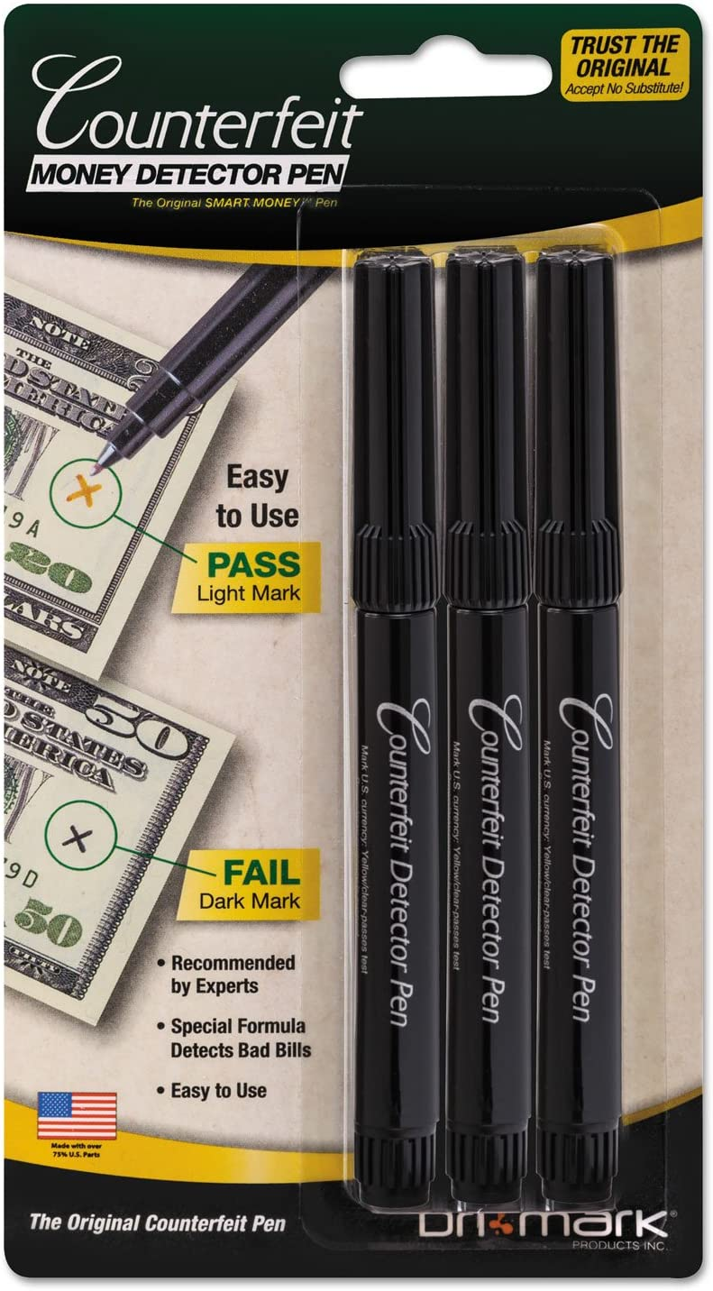 Dri-Mark Money Counterfeit Bill Detector Pen for Use w/ U.S. Currency