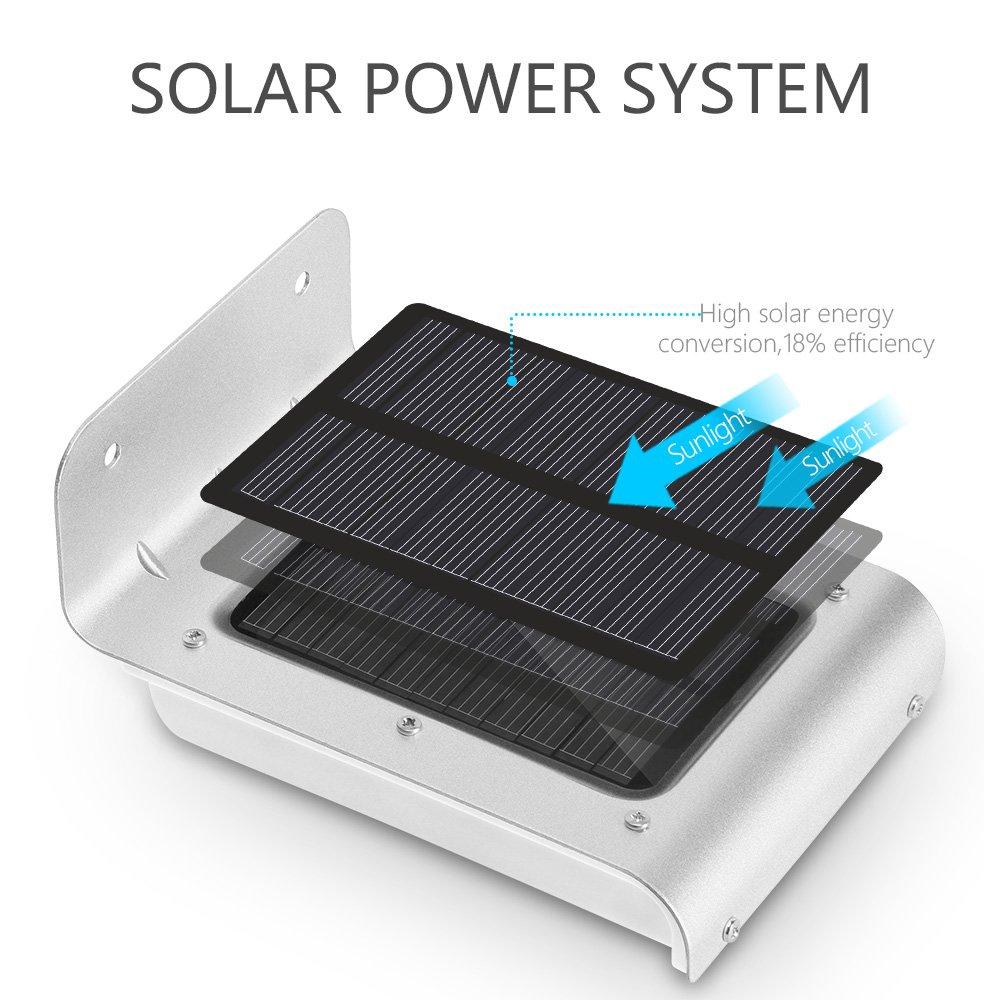 Solarmks PB-1805 SL-S-16 Motion Sensor Solar Lights 16 LED Auto Waterproof for Outdoor Garden Fence Wall Step (2-Pack)