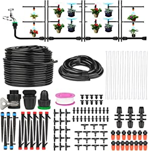EZESO ESSENTIAL SKINCARE Drip Irrigation Kit - Garden Irrigation System - 42m/138ft Automatic Patio Plant Hose Watering Kit Cooling Mist System with Adjustable Nozzle Sprinkler Sprayer & Dripper (42)