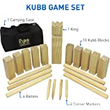 "Kubb The Viking Wooden Outdoor Lawn Game Set - One 2 3/4"" x 12"" King, Ten 1.75"" x 6"" Kubb Blocks, Six 1"" Diameter x 12"""