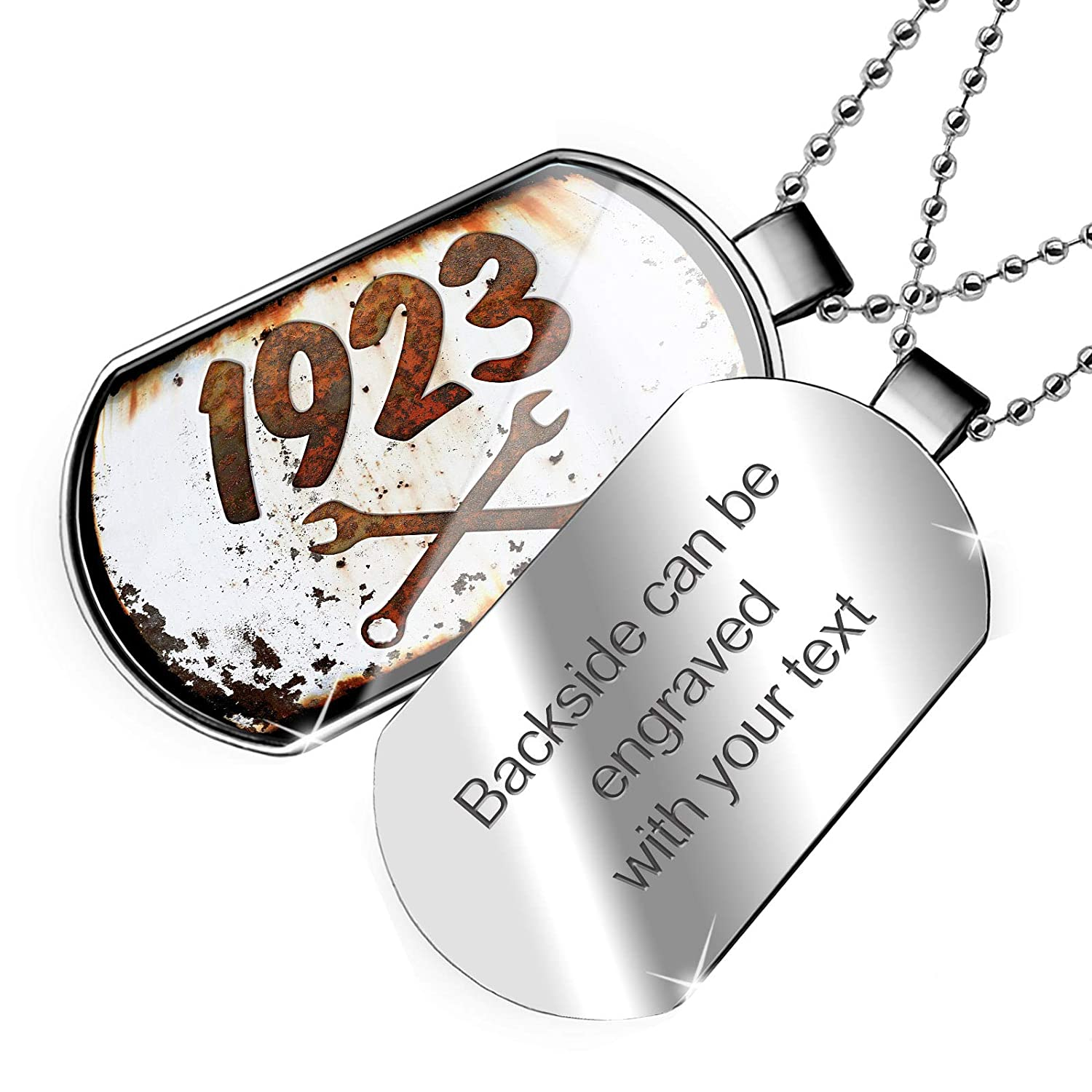 NEONBLOND Personalized Name Engraved Rusty Old Look car 1923 Dogtag Necklace