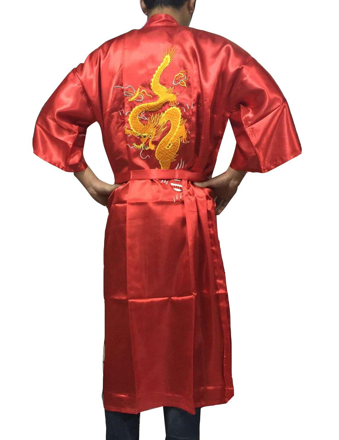 YueLian Men's Chinese Dragon Embroidery Kimono Bathrobe Long Nightgown ZAD2