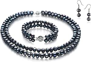 Julika Black 6-7mm Double Strand A Quality Freshwater 925 Sterling Silver Cultured Pearl Set For Women