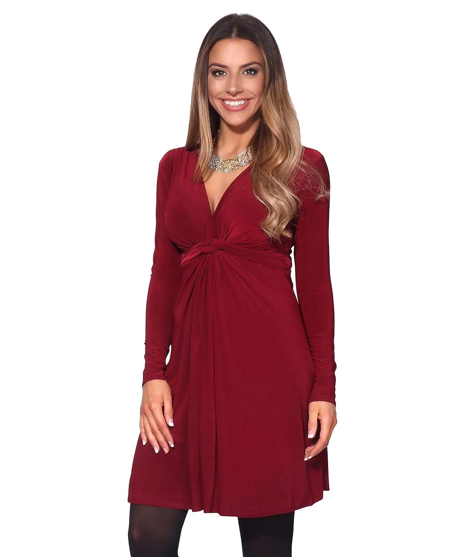TALLA 38. KRISP Vestido Mujer Fruncido Original Burdeos (9878) 38