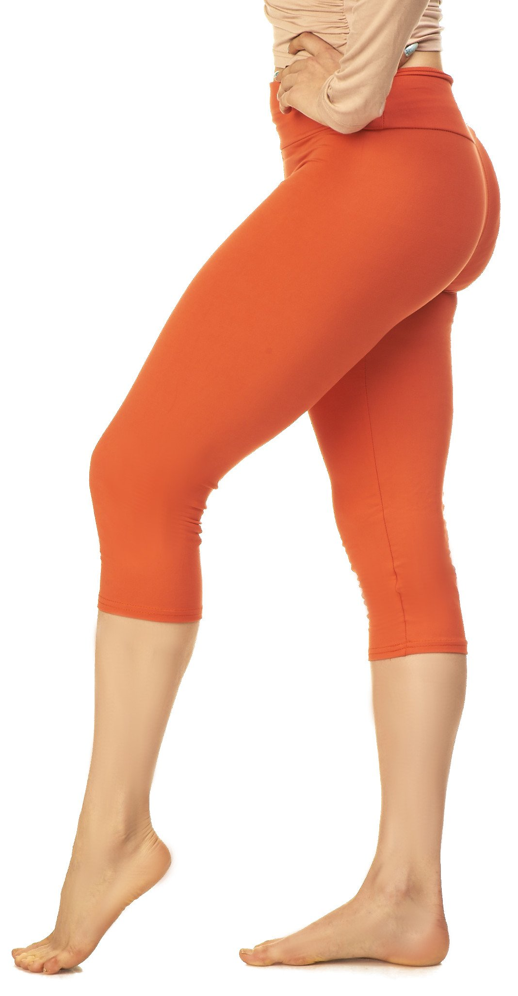 Lush Moda Women's Basic Capri Leggings with Yoga Waist- Extra Soft and Variety of Colors - Bright Orange