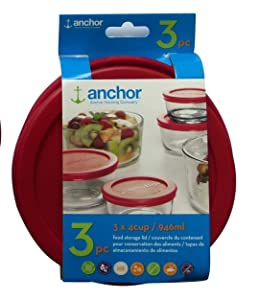 Anchor Hocking Replacement Lid 4 Cup/946 ml, set of 3 lids, red round