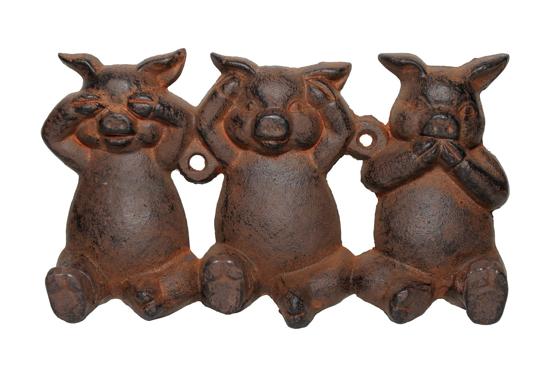 Cast Iron Three Little Pigs Triple Wall Hook