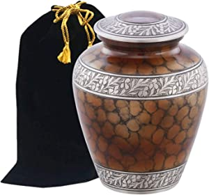 Eternitymart Cloud Fire Creamation Urn - Affordable Metal Urn - Handcrafted Solid Metal Urn for Ashes, Adult Cremation Urn with Free Velvet Bag (Brown)