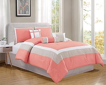 7 Piece KING Size CORAL PINK / WHITE / GREY Color Block MILAN Goose Down  Alternative Comforter set 104\