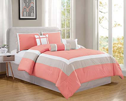 Amazoncom 7 Piece King Size Coral Pink White Grey Color Block
