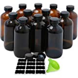 Amber Boston Round Bottles, ESARORA 12 Pack 8oz Amber Glass Bottles with Black Poly Cone Cap Fit for Essential Oils…