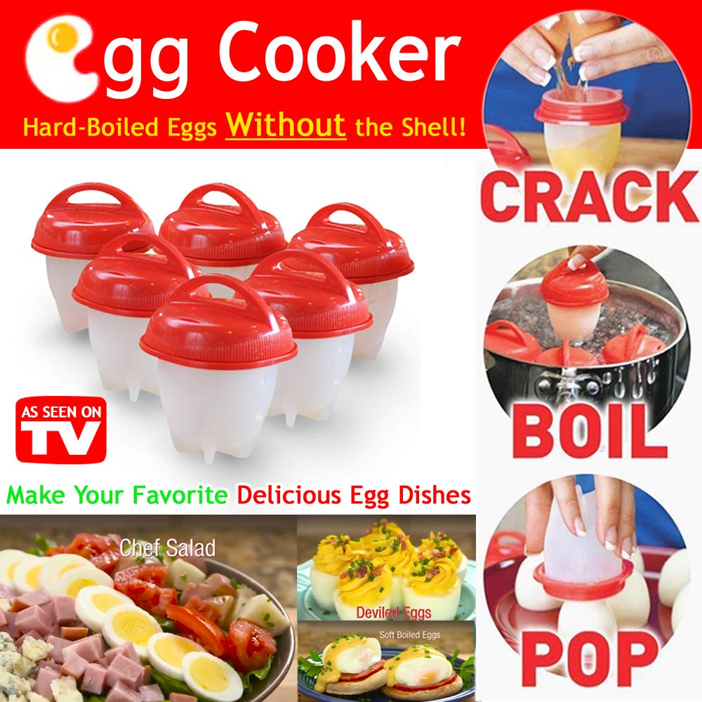 Egglettes Egg Cooker Hard Boiled Eggs Without the Shell, Non Stick Silicone Egg Poachers(6 pack Cups) by DUT (Image #1)