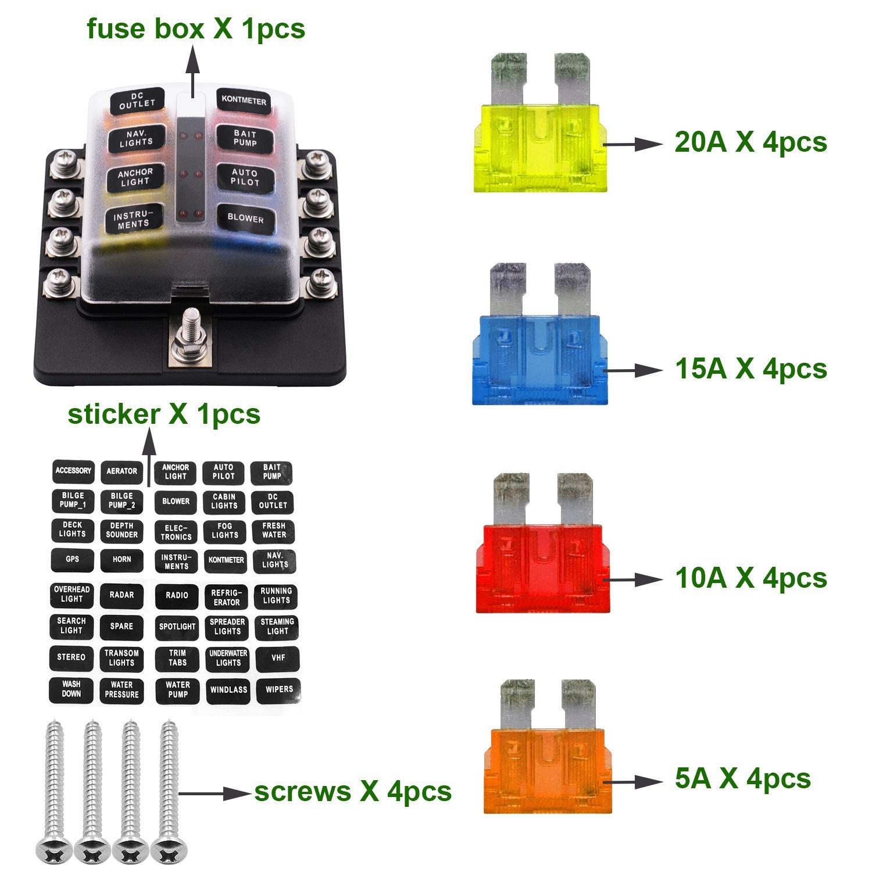 TOOGOO Sostenedor caja de fusible de cuchilla de 8 vias con luz LED Bloque a prueba automotriz RV DC 32V a prueba de agua con cubierta /& fusibles /& pegatinas
