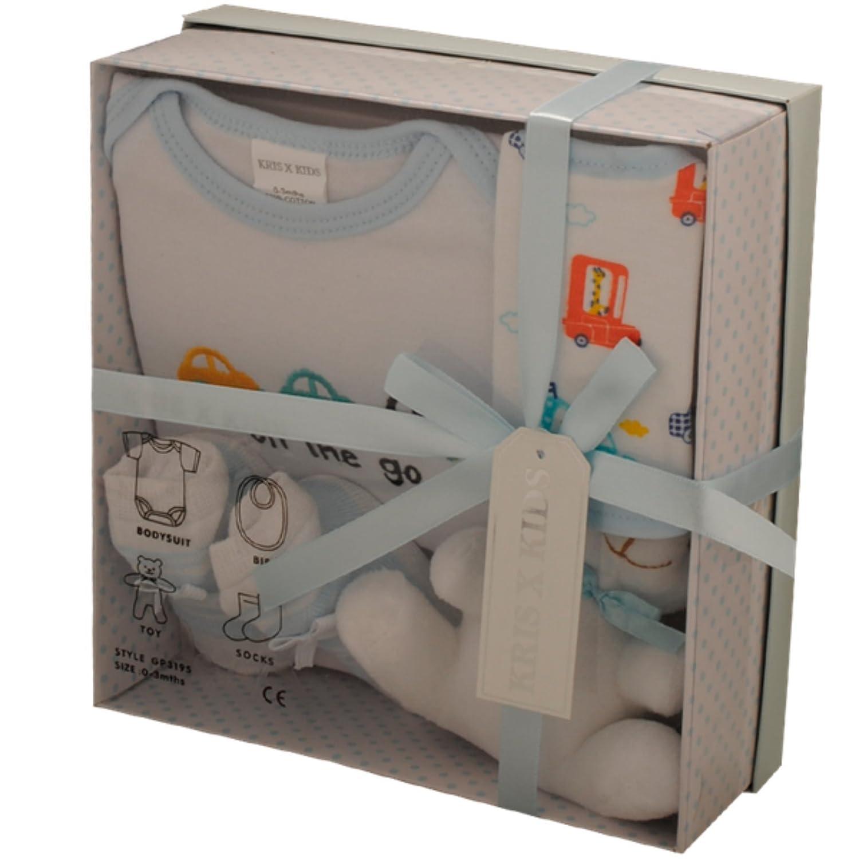 Newborn Baby Gift Set with Bodysuit, Bib, Toy, Socks in a Gift Box. 0 - 3 Months. (Blue) Kris x Kids